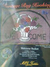 """Heritage Rug Hooking Welcome Basket of Flowers 20"""" x 27"""" Latch Hook Kit #73012"""