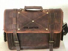 Bag Briefcase Goat Artisan Tan Leather Vintage Brown Messenger Shoulder Laptop