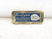 1940's VINTAGE THE OXFORD SET OF MATHEMATICAL INSTRUMENTS ADV. TIN BOX, ENGLAND