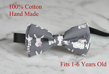 Boy Kids Baby 100% Cotton Easter Bunny Rabbits GRAY GREY Bow Tie 1-6 Years Old