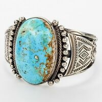 Old Pawn Native American Large Sterling Silver Turquoise Cuff Bracelet
