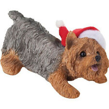 Sandicast Yorkshire Terrier with Santa Hat Christmas Holiday Ornament