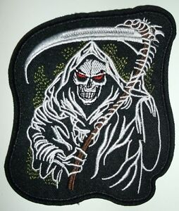 """Grim Reaper Embroidered Patch~4 1/2"""" x 4""""~Iron or Sew On~QUALITY~Free Shipping"""