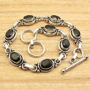 925 Silver Plated Original BLACK ONYX 8 Stone ART Bracelet 8 1/4 Inches