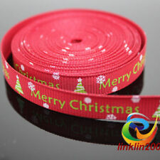 Christmas 16mm wide Red Grosgrain Ribbon - Merry Christmas - 2 yards - Xmas