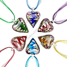FREE Wholesale Lot 12pcs Heart Flower Lampwork  Glass Pendants Necklace Fashion