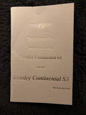 Bentley S3 Continental Hj Mulliner Parco Ward Proprietari Manuale Manuale