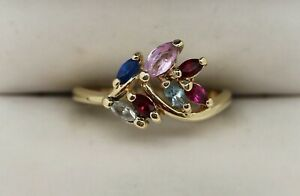 Colorful 10K Yellow Gold Multi-Gemstone Ring Sz 7 (2.18g)