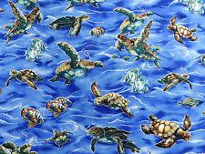 Realistic Sea Turtles Pacific Ocean Robert Kaufman #6398 By the Yard