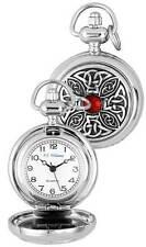 chrom Quarz voll-verschluss Anhänger Uhr auf Kette mit keltisch Muster und rot