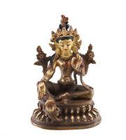 Soprammobile Tibetano Bianco Tara Vajrasattva 11 CM Rame Nepal AFR9-3272