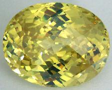 Top 28x22 mm 98.2 cts Fancy Oval Checkerboard Greenish Yellow Russian CZ AAAAA