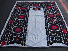 ANTIQUE UZBEK SILK HAND MADE- EMBROIDERED SUZANI 230x180-cm / 90.5x70.8-inches
