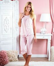 Women's Pink Knit Pajama Set Top & Capri Pants Sleepwear Pj's Medium 10/12