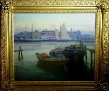 """Andrew Thomas Schwartz (American,1867-1942) Oil Painting """"East River, NY 1897"""""""