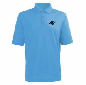 NWT Men's Antigua NFL Carolina Panthers Pique Xtra-Lite S/S Polo Shirt 100425