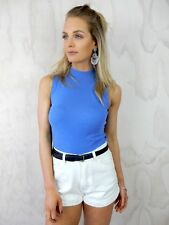 COTTON ON Blue High Neck 90s BOHO Festival Party Beach CROP TOP Cami Singlet XS