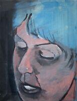 Brigitte Tietze Berlin Ölgemälde Portrait Frau mit blauen Haaren 45,5 x 35 cm