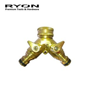"""Solid Brass Manifold 2-Way Garden Twin Tap Dual Connector Adaptor 12mm 1/2"""""""