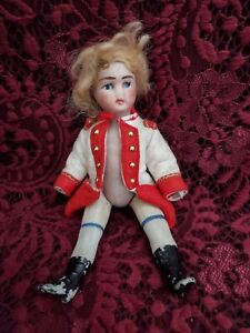 """Antique Unmarked Small All Bisque Jointed Doll 6.5"""" TLC"""