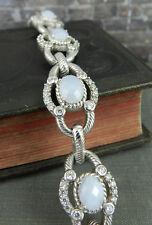 Judith Ripka Sterling Blue Lace Agate & Diamonique Toggle Bracelet