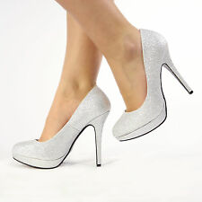 Womens Ladies High Stiletto Heel Platform Court Shoes Size 3-8 Silver Glitter UK 6 EU 39