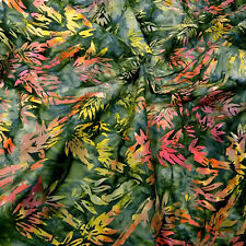 Central Java Bamboo Print Batik Cotton Fabric, Green, Yellow, Coral