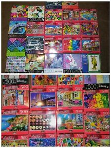 Lot of 5 New 500 Piece Jigsaw Puzzles Mystery Lot Animals~Landscapes~Food~Disney