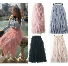Ladies High Waist Elastic Ruffle Mesh Tulle Tutu Sheer Net Pleated Maxi Skirt UK