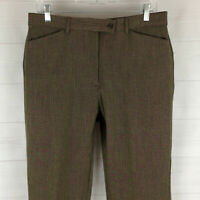 SAGHARBOR womens size 12P stretch greenish flat front high rise tapered pant EUC