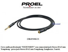 Proel CHLP190LU3 Prolunga cuffie Cavo audio EXTENSION jack e presa Stereo Ø 6,3