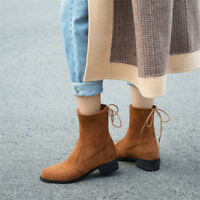 Fashion Womens Suede Short Ankle Boots Lace Up Round Toe Block Low Heel Booties