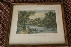 Currier & Ives lithograph THE RIVER SIDE 16 x 20 w/ frame 17 3/4 x 21 1/2