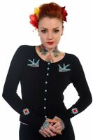 Swallows Blue Birds Rockabilly Psychobilly Punk Black Cardigan Banned Apparel