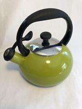 Retro Green Enamel Whistling Tea Kettle Pot W/ Blue Enamel Inside