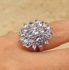 DEVO SMALTIRE TANZANITE PLATINO rivestimento argento 925 anello a grappolo 2CT