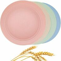 "4 pcs Unbreakable Lightweight Wheat Straw Plates, Reusable 9"" Plate Set for Kids"