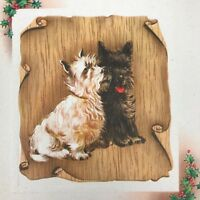 Vintage Mid Century Christmas Greeting Card Cute Scottie Dogs