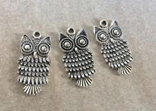 Antique Silver, Owl Charms, 25x11mm, 3pcs, Jewellery Making and Crafts