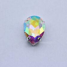 20p color teardrop faceted crystal glass sew on flatback rhinestones Multi size