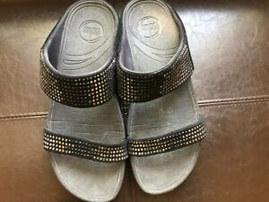 FitFlop Women Black Shimmer Crystal  Bling Slide Sandals Size 9M.
