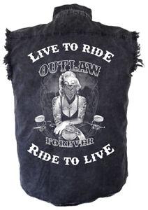 Mens Marilyn Monroe Outlaw Motorcycle Acid Washed Denim Cutoff Biker Shirt