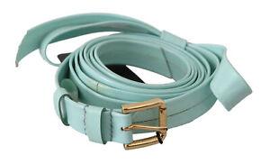 DOLCE & GABBANA Belt Light Blue Leather Gold Buckle Waist 70cm / 28in RRP $300