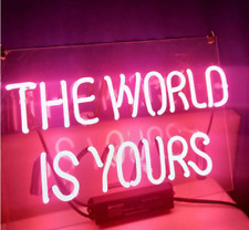 "The World Is Yours Pink 14""x10"" Neon Sign Acrylic Light Bar Glass Wall Display"