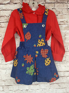 Vintage Jumper Overall Printed Fall Leaf Denim School Girl Dress Set 5T OMG CUTE