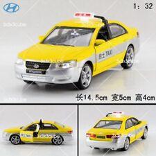 1:32 Yellow Hyundai Sonata Beijing China taxi Diecast Model Car With Sound Light