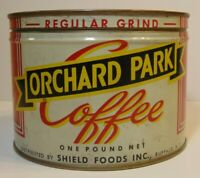 Vintage 1950s ORCHARD PARK COFFEE KEYWIND COFFEE TIN 1 POUND BUFFALO NEW YORK
