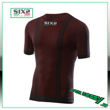 MAGLIA T-SHIRT GIROCOLLO MANICA CORTA SIX2 DARK RED CARBON UNDERWEAR TS1 TG S