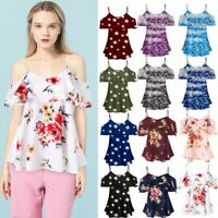 Women Summer Cold Shoulder Loose Casual Short Sleeve Tops Blouse Shirt Plus Ceng