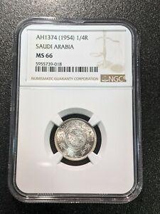 1374 (1954) MS66 Saudi Arabia Silver 1/4 Riyal NGC 37 Nice Luster!
